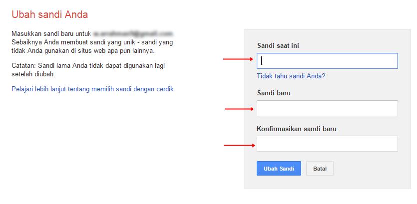 Mengubah sandi akun email gmail