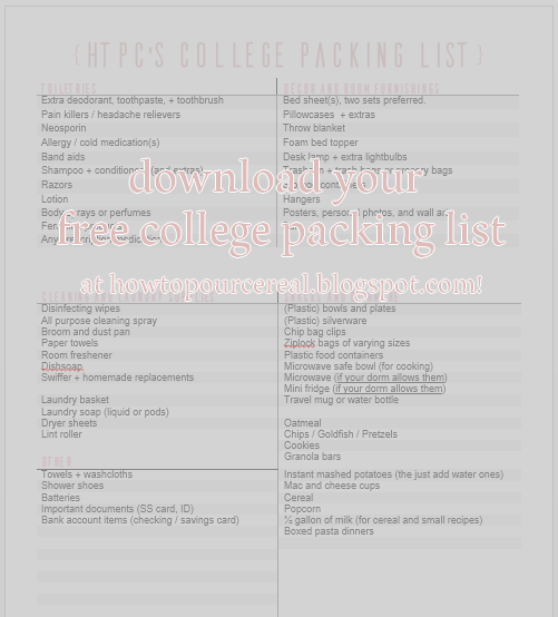 howtopourcereals-free-college-packing-list-pdf