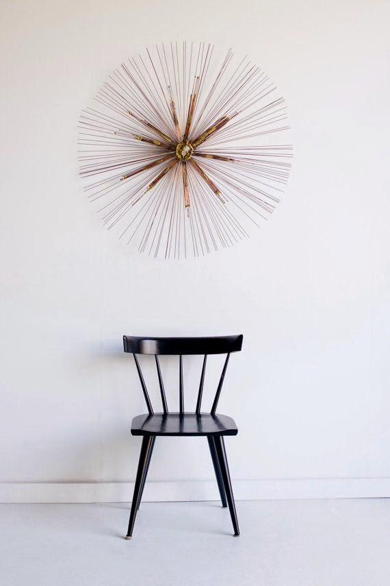 Escultura dorada vintage de paredreloj sputnik