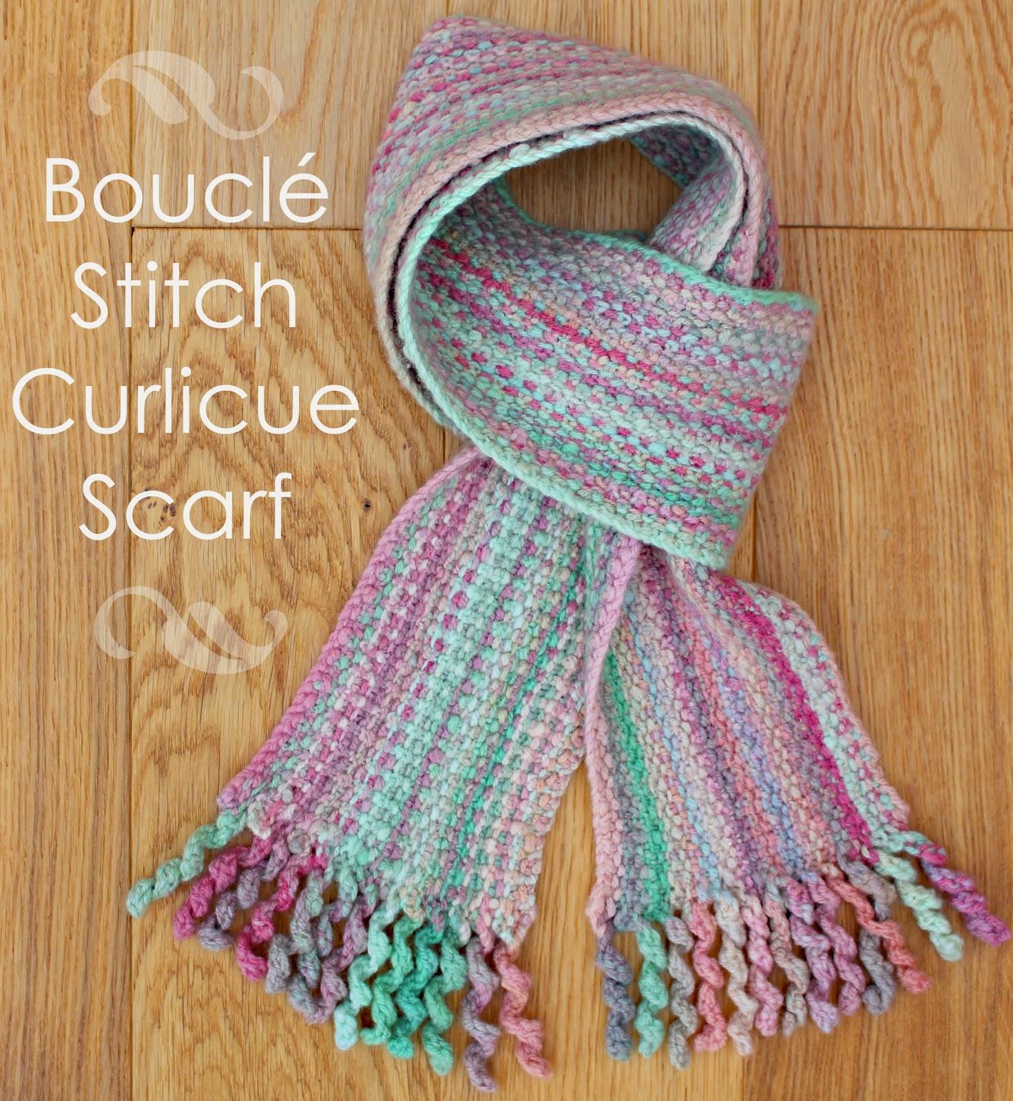 Boucle Knitting Patterns : Boucle Stitch Curlicue Scarf Pattern Craft me Happy!: Boucle Stitch Curlicu...
