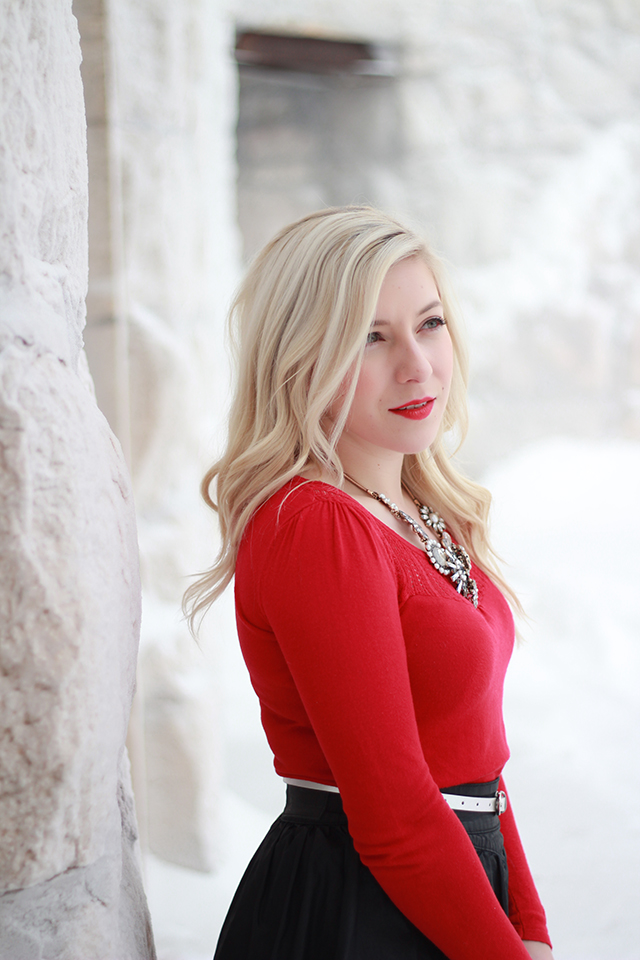 How to wear red lipstick - inspiration from a Winnipeg fashion blogger.