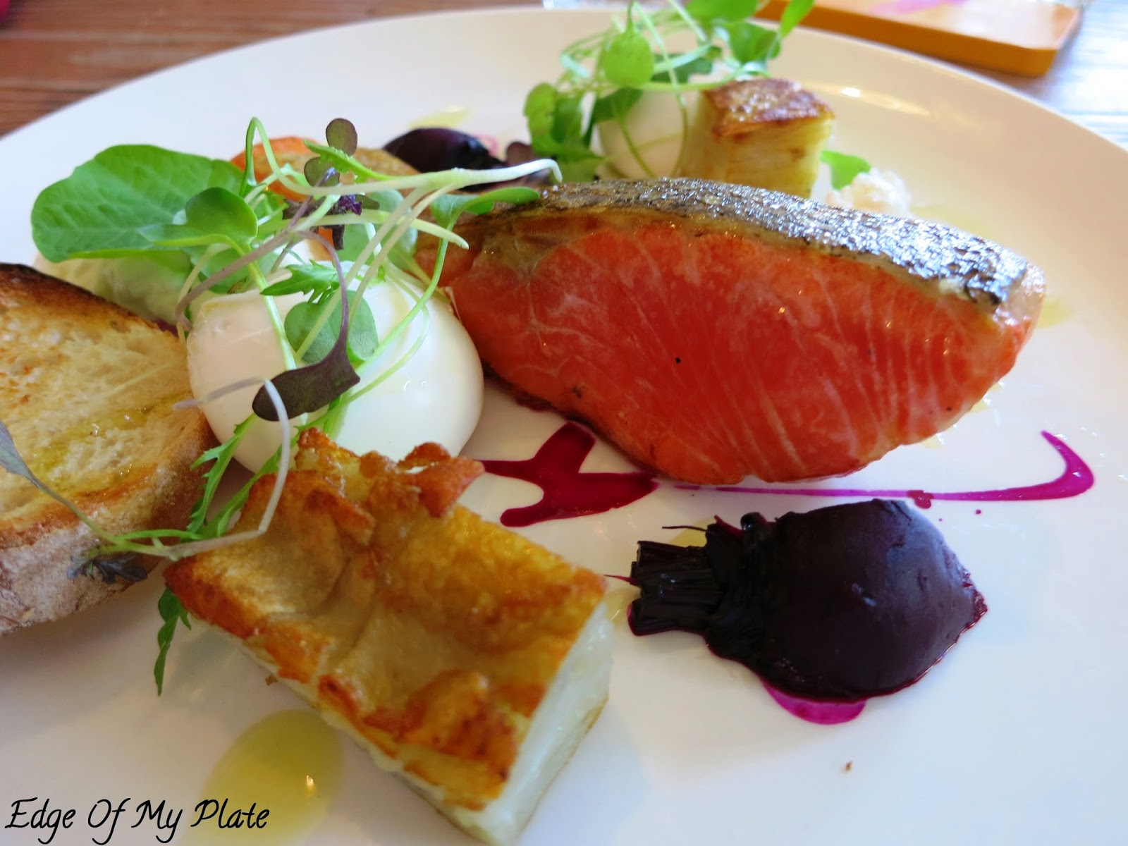 Gin and lime cured Huon ocean trout fillet with baby beetroot and goats curd