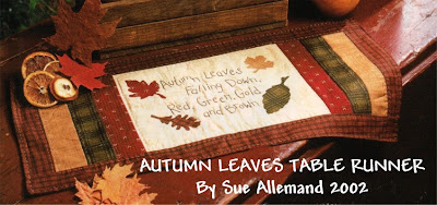 FREE Autumn Leaves Table Runner Pattern, stitchery, applique, quilting