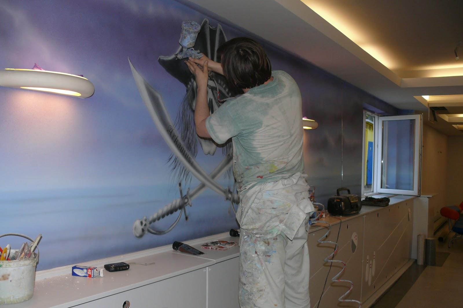 obraz ścienny o tematyce pirackiej namalowany w kręgielni, mural 3D Warszawa