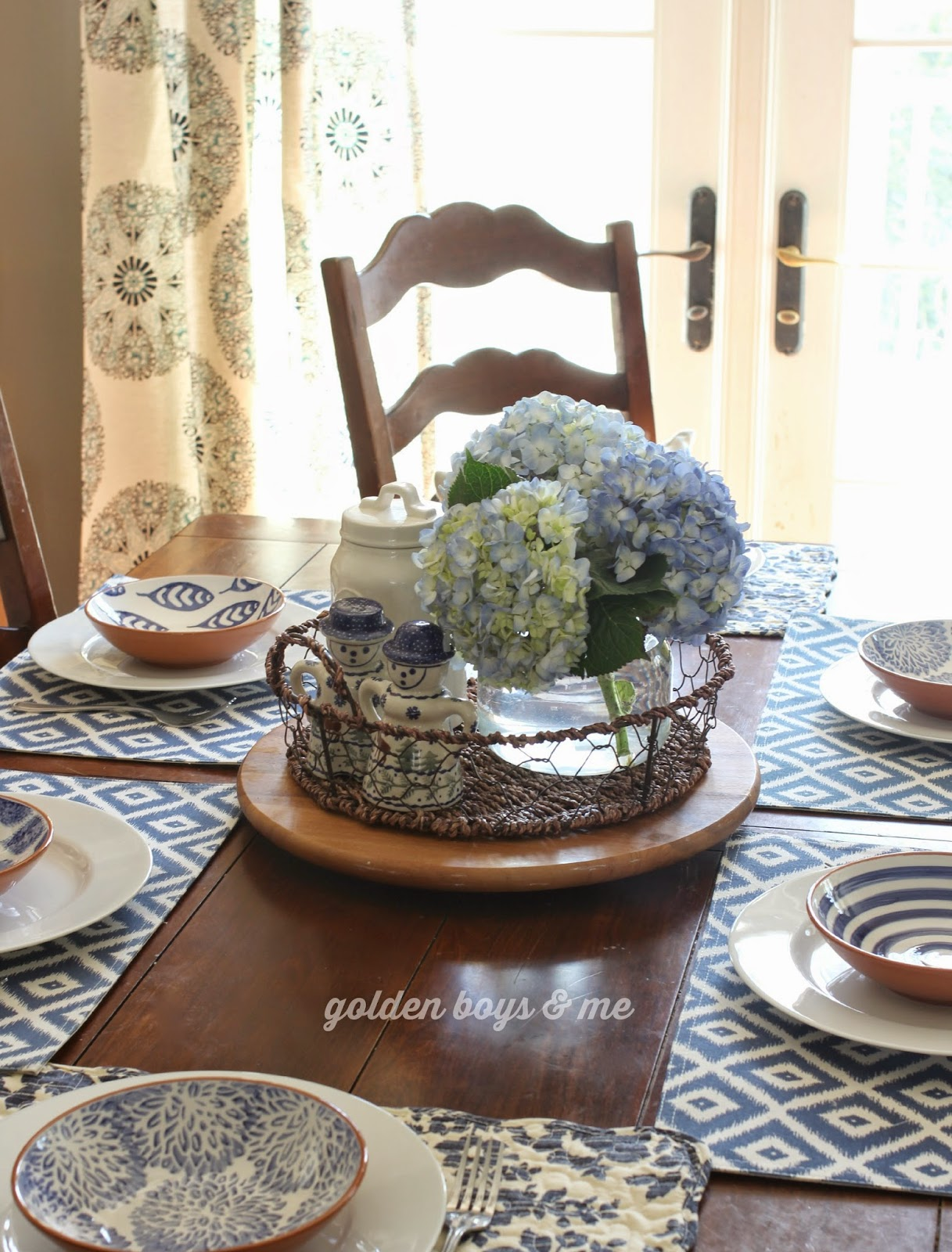 Target Threshold Medallion curtain panels with blue and white dishes and blue hydrangea-www.goldenboysandme.com