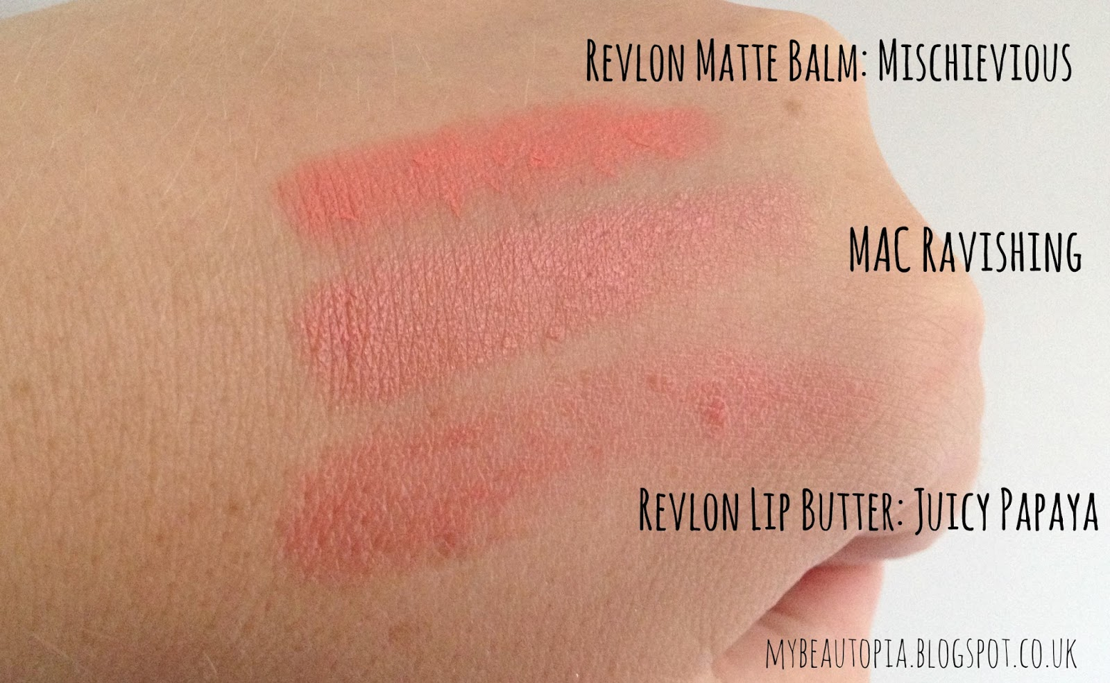 MAC Ravishing Cremesheen Lipstick comparison swatches with Revlon Matte Balm Mischievous & Revlon Lip Butter Juicy Papaya