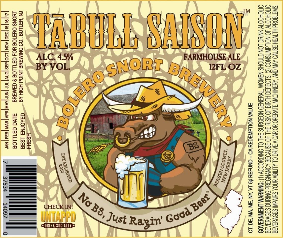 Bolero Snort Brewery, New Jersey, Beer, Saison, Tabull Saison