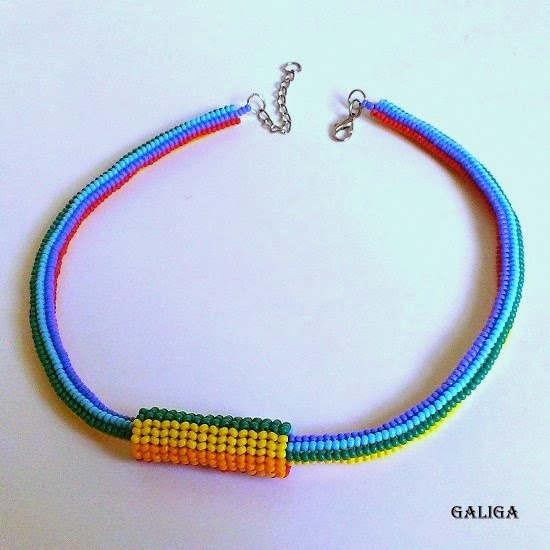 rainbow style beaded necklace-colorful seed bead neclace with pendant