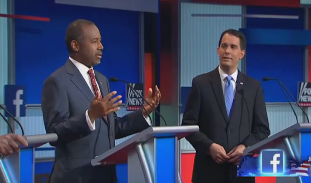 Scott Walker nodding Ben Carson Fox News debate