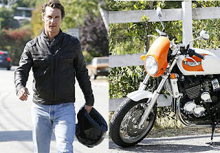 Matthew McConaughey on a bike