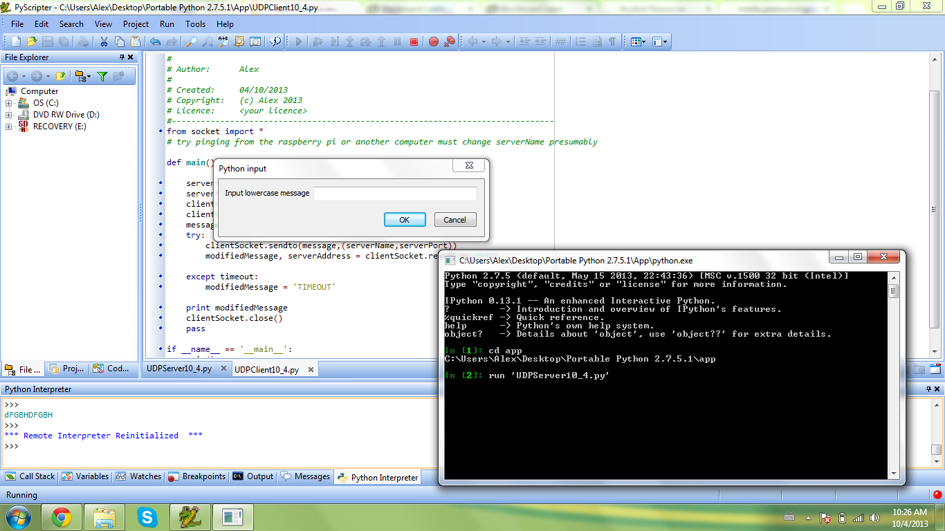 code for the udp client w timeout code