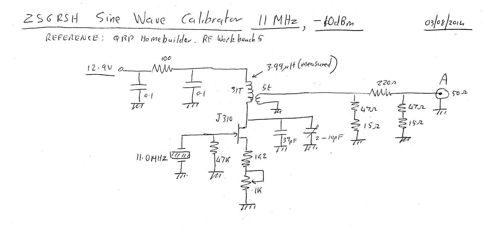 N4hay Zs6rsh Building A Sine Wave Generator To Allow Calibration The Circuit Cmos 10mhz Reference Point