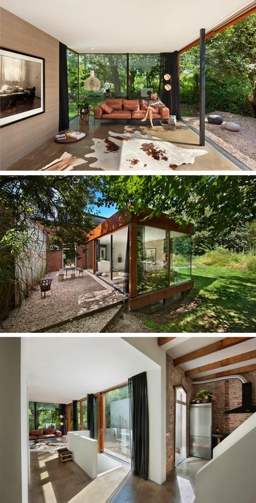 De transformatie van een klein spoorhuis tot een prachtig woonhuis villa d 39 esta interieur en - Uitbreiding huis glas ...