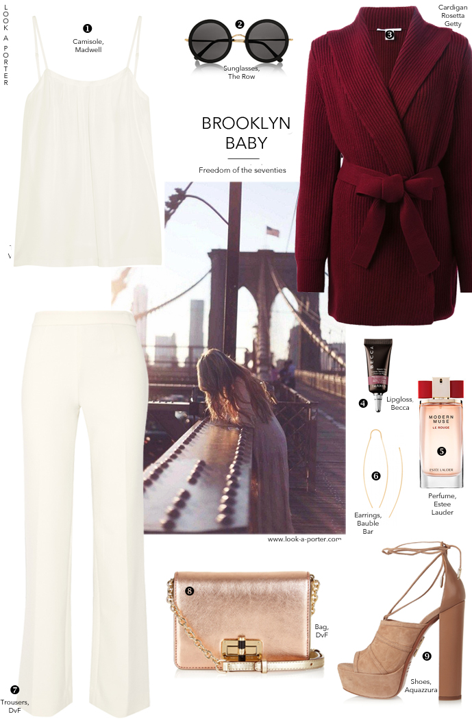 An outfit idea inspired by 1970s style and fashions, styled with all-American designers and brands. Via look-a-porter.com, style & fashion blog