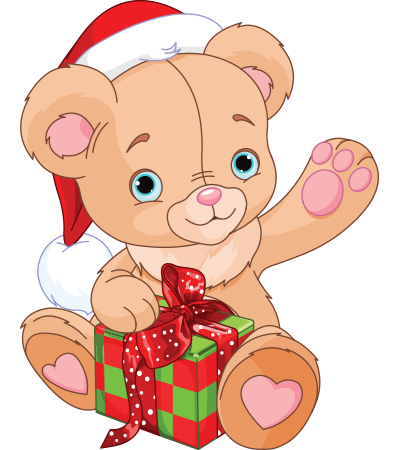 Teddy bear with present