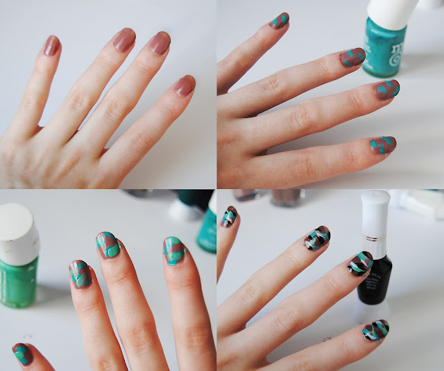 All you need are a bunch of nail polishes in camo print colours    Camo Nail Art Tutorial