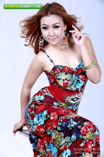 Thun Sett Burmese Beautiful Model in Sleeveless Floral Gown