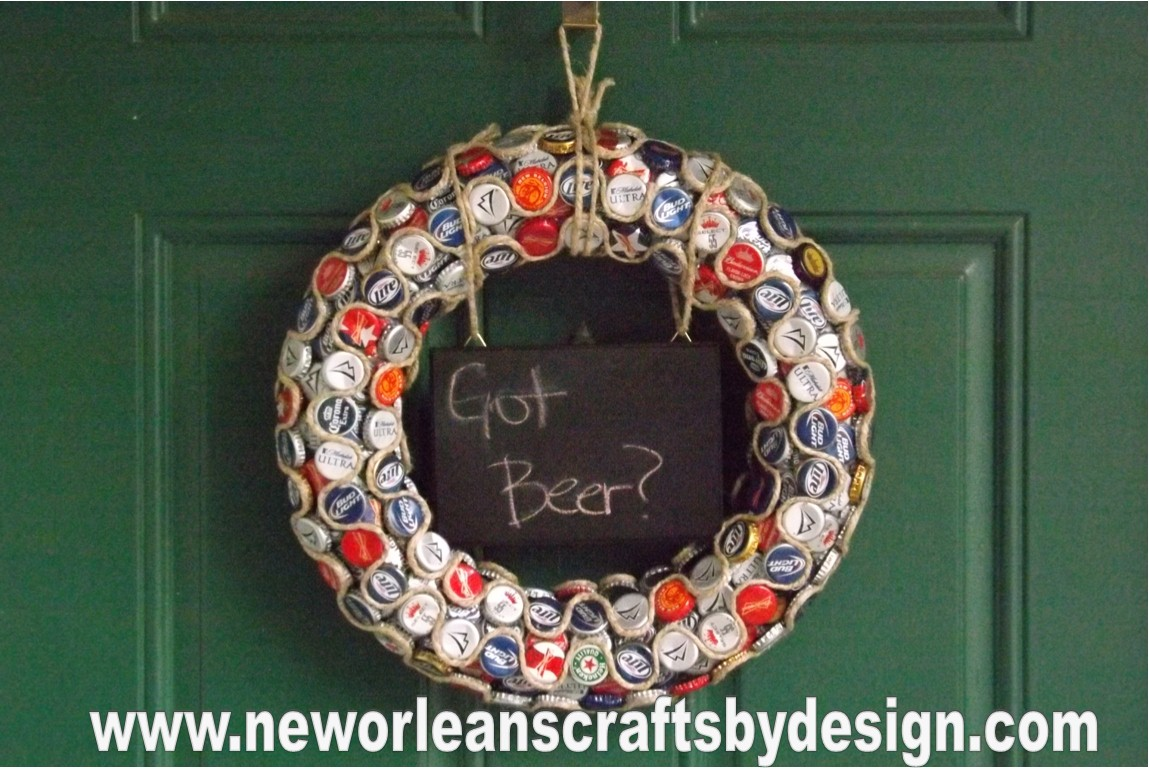 New orleans crafts by design got beer bottle cap wreath for Crafts to do with beer bottle caps