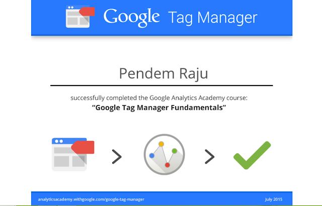 Pendem Raju Google Tag Manager Fundamentals Certificate in Google Tag Manager Fundamentals Course