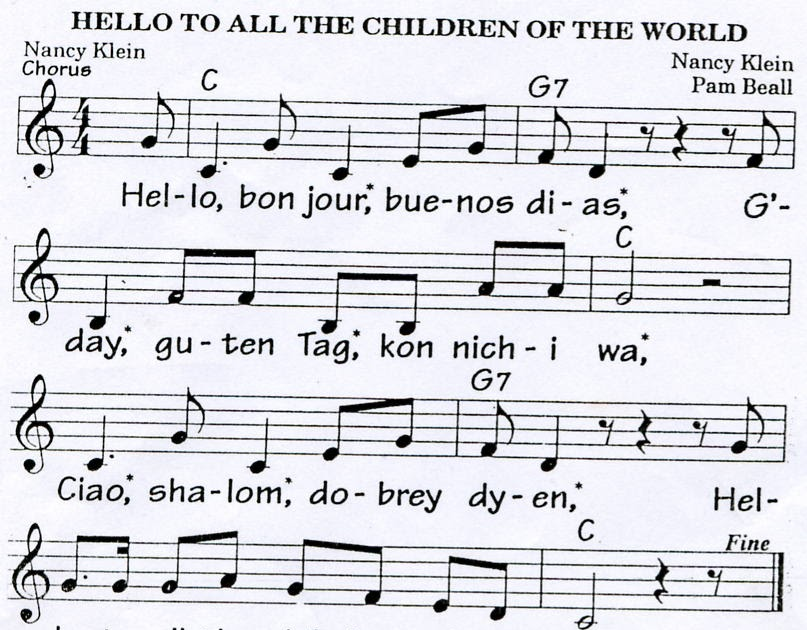 Piano hello piano sheet music : KEEP IT UP!: Hello to all the children of the world!