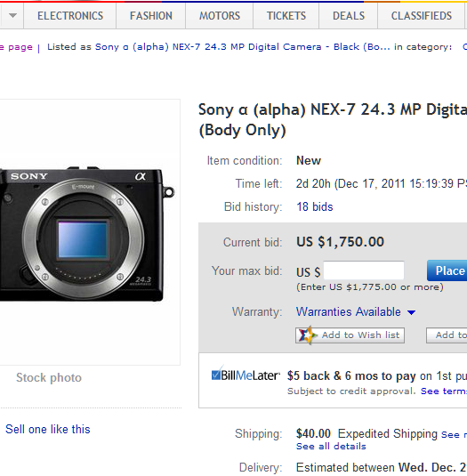 sony nex-7 ebay auction