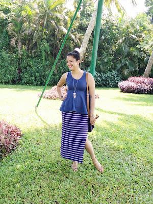 Slit skirt and peplum top style