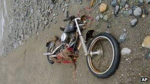 Motosikal Harley Davidson milik Yokoyama tersadai di sebuah pulau - AP