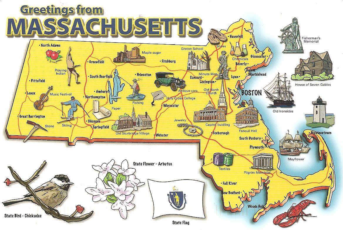 MY POSTCARDPAGE USA MassachusettsMap - Us map massachusetts
