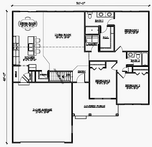 3 bedroom wheelchair accessible house plans universal for Handicap accessible house plans