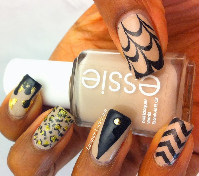 Lacquer Lockdown - nude nails, Essie Sand Tropez, Vivid Lacquer, VL010, VL005, VL009, stamping, nail art, leopard print, chevrons, watermarble, coloblock nails, gold flakies, cute nails, diy nail art, diy nails, easy nail art, nail art ideas, skittle manicure, bundle monster, cici and sisi, moyou london, konad, nude nails, nail art, freehand nails, leopard print