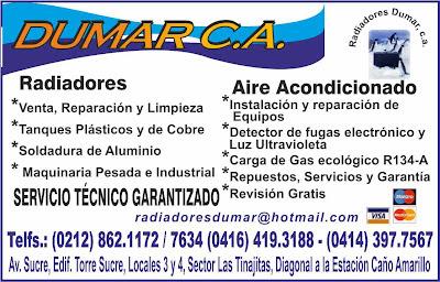 RADIADORES DUMAR, C.A. en Paginas Amarillas tu guia Comercial