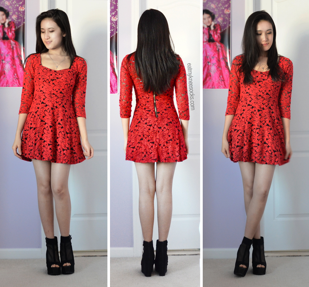More photos of the partially-lined red lace skater dress from Romwe!