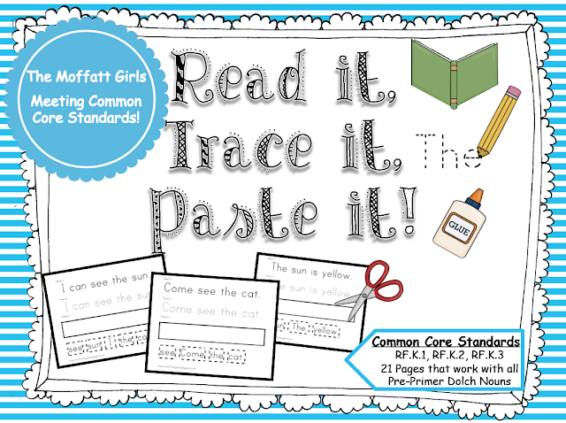 TRACE, (pre Printables PASTE Sight worksheet word READ, there primer) sight  Word