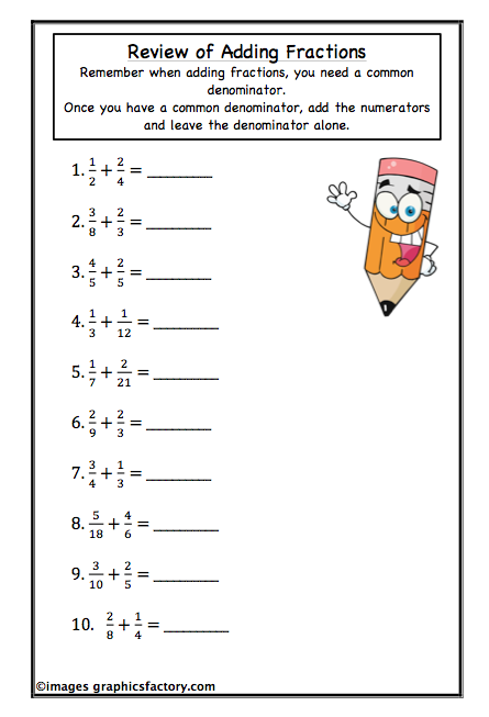 4th Grade Math Worksheets Adding Fractions - Worksheets for Kids ...