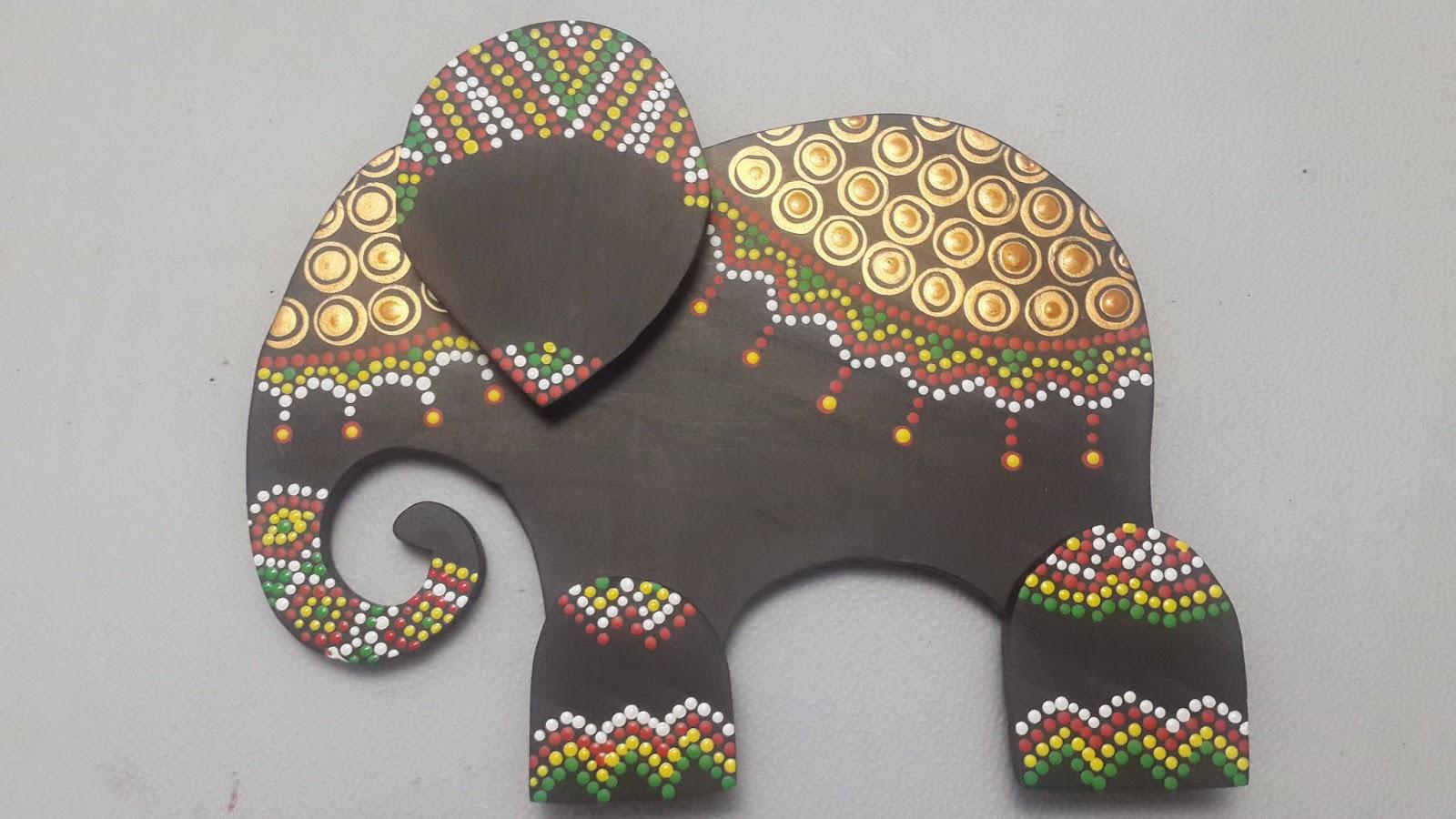 Hecho a mano y con pasi n elefante decorado con puntillismo - Decoracion indu ...