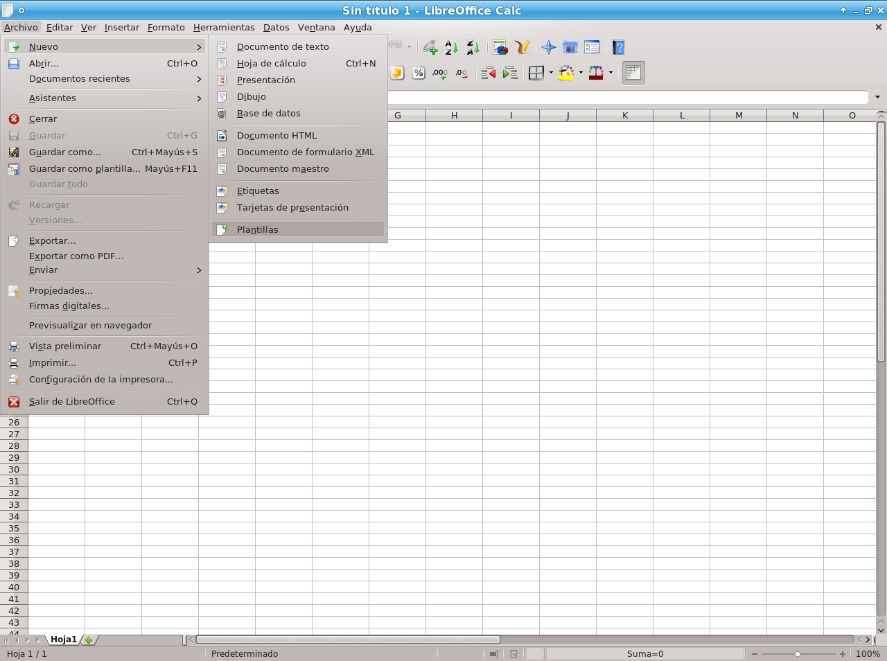 Menu plantillas LibreOffice 4.0