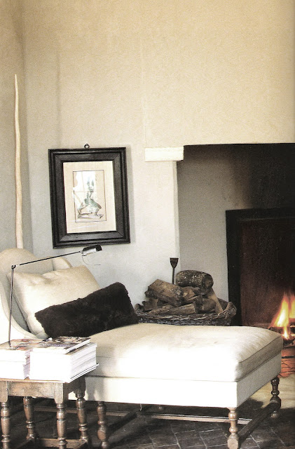 Axel Vervoordt, Timeless Interiors, chaise by the fire, edited by lb for linenandlavender.net, here:  http://www.linenandlavender.net/2009/10/room-without-books.html