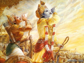 Krishna, as the charioteer of Arjuna,  sounds the Panchajanya at Kurukshetra