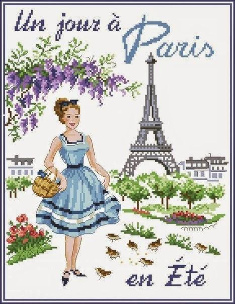 """Элегантная вышивка """"Парижанка"""" в стиле ретро"""