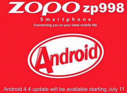 Android 4.4 KitKat Update For Zopo ZP998 Now Available