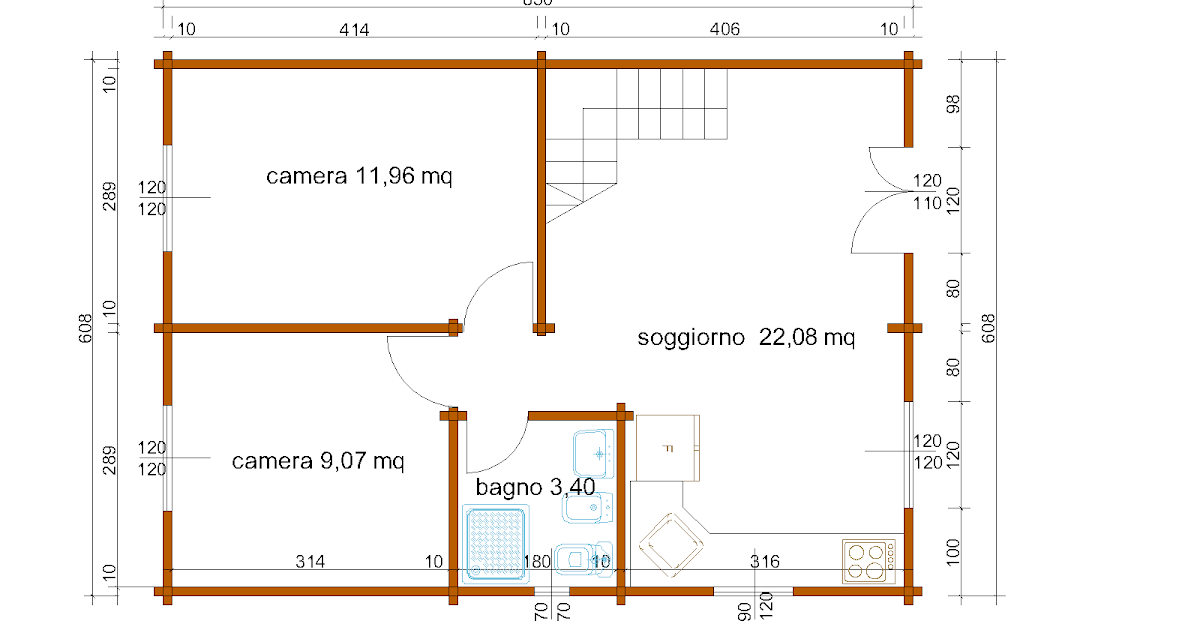 Progetti di case in legno casa a due piani 103 mq balcone for Quattro piani quadrati di case