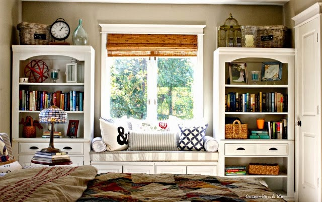 Window seat in Master Bedroom created with upper cabinets from Lowes and a repurposed wall unit.  www.goldenboysandme.com