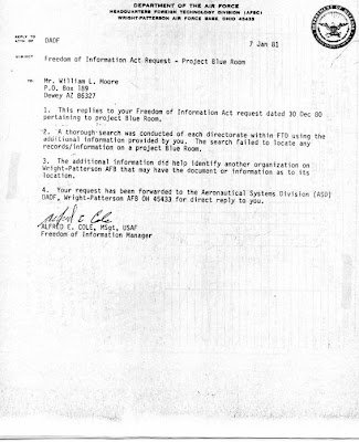 FOIA Request By Bill Moore Re Project Blue Room 1-7-1981