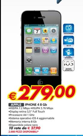Nell'ultimo volantino Auchan doppia promozione sullo smartphone Apple iPhone 4 venduto scontato e con pagamento rateale senza interessi