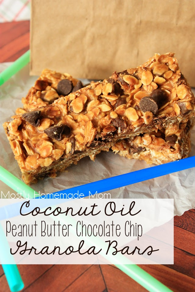 ... Homemade Mom: Coconut Oil Peanut Butter Chocolate Chip Granola Bars