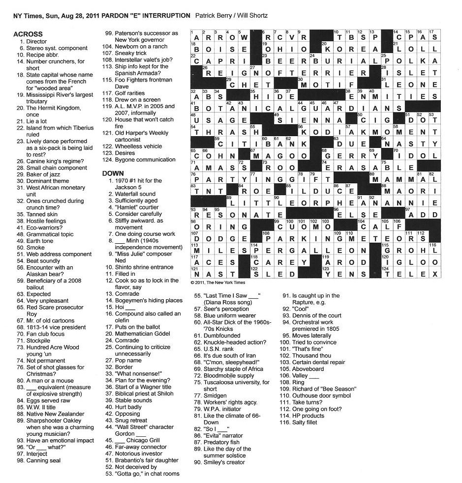 The new york times crossword in gothic august 2011 kristyandbryce Choice Image