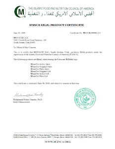 Monavie halal certificate