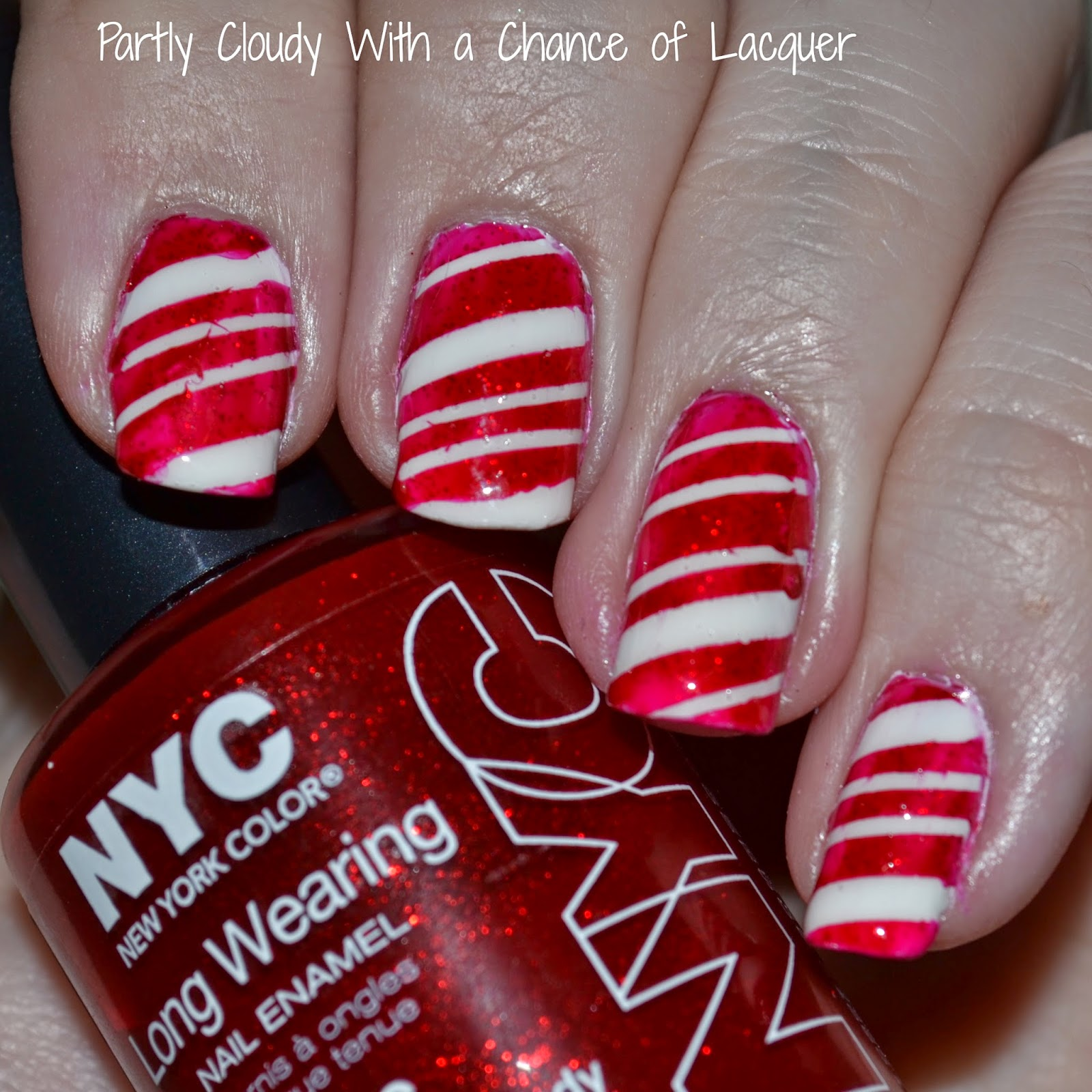 Candy Cane Nail Art Partly Cloudy With A Chance Of Lacquer