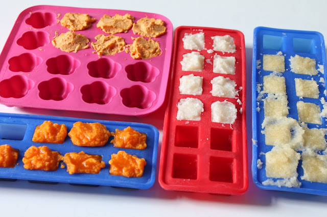 baby puree in silicone ice cube trays