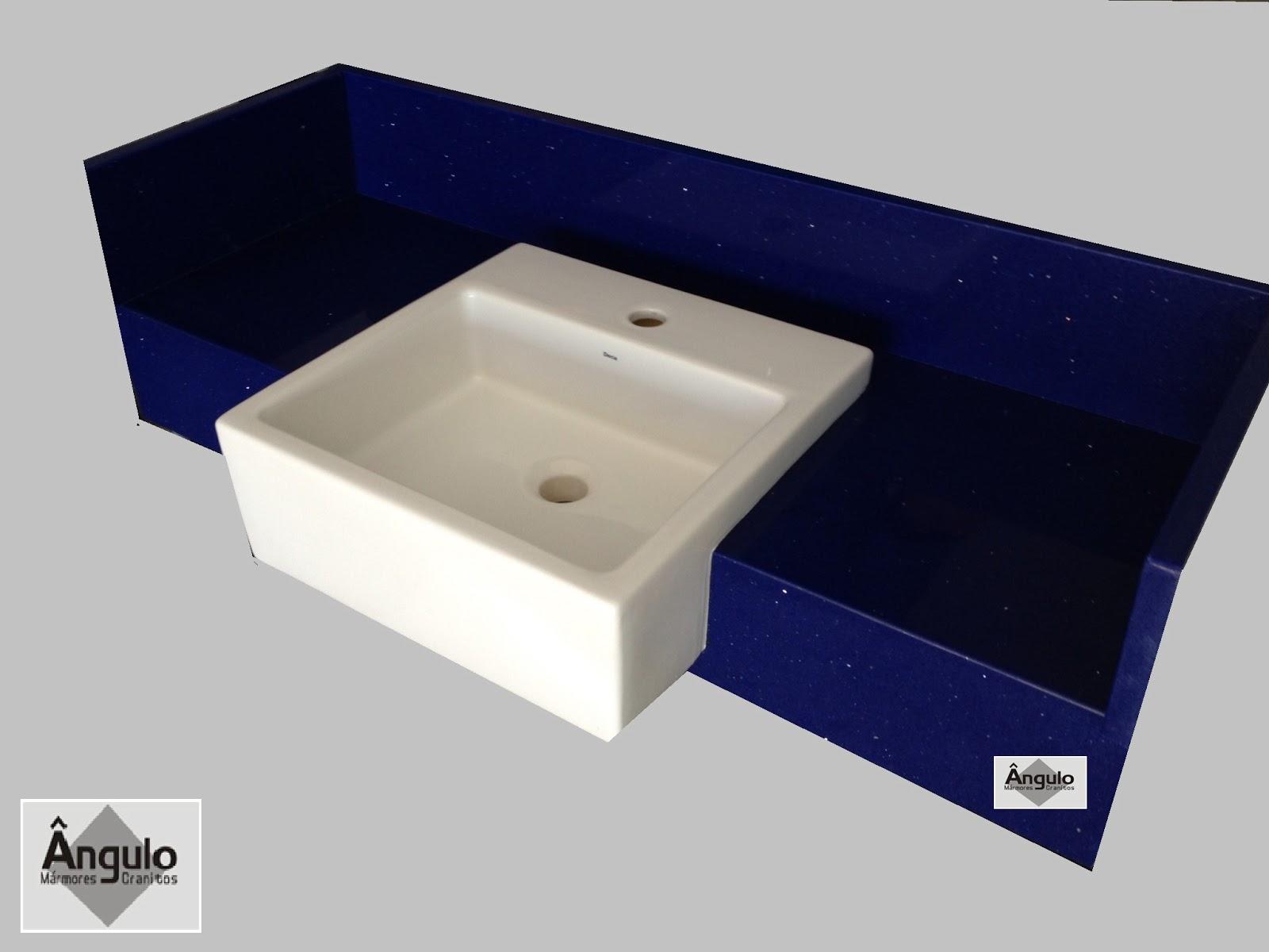Bancada para banheiro em Silestone cuba de semi encaixe testeira e  #080B2B 1600x1200 Banheiro Com Marmore Azul